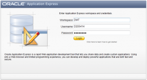 Login to Oracle Application Express