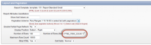 Oracle ApEx report attributes' Layout and Pagination Number of Rows (Item) value