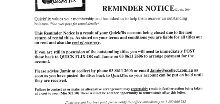 Quickflix Reminder Notice